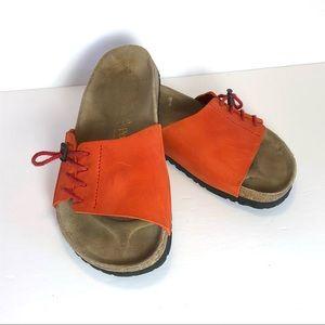 Birkenstocks Papillio Orange Toggle Lace Sandal